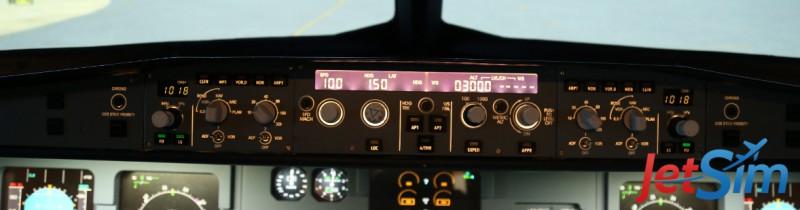 Die neue Cockpit-FCU im Flugsimulator in Berlin