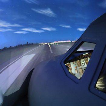 Die Projektion im Flugsimulator in Berlin ist täuschend realisitsch