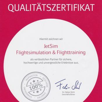 Erlebnis Auszeichnung JetSim Flugsimulator Berlin