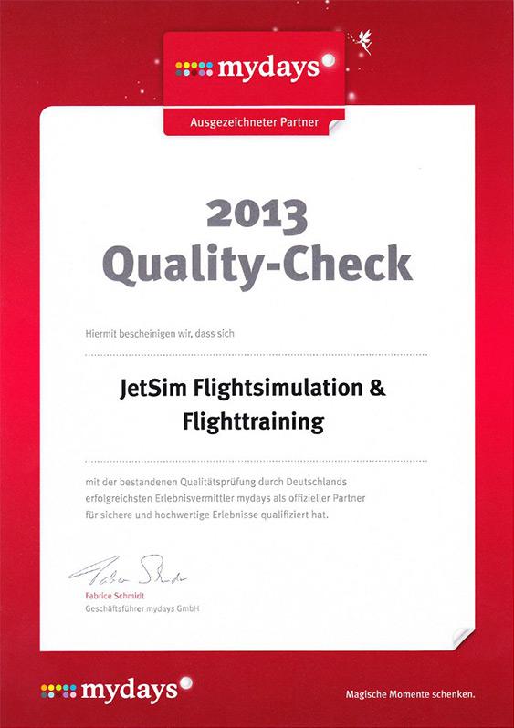 JetSim Auszeichnung: MyDays Quality-Check 2013